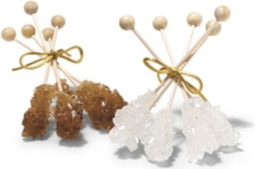 Dryden & Palmer Amber And White Pure Crystalized Rock Candy Cane Sugar Swizzle Sticks, 20 White And 20 Amber Wrapped Sticks