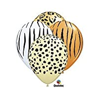 Safari Print Zebra Leopard Tiger Cheetah Print Latex Party Supply Balloons by Qualatex