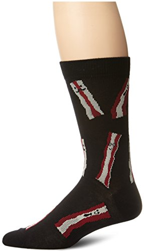 K.Bell Black Label Men's Bring Home The Bacon Crew Sock, Black, 10-13/Shoe Size 6-12