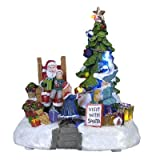 Star-LED-Christmas-Scene-Santa-with-gifts-ca-14-cm-x-13-cm-amber-LED-battery-operated-four-colour-box-with