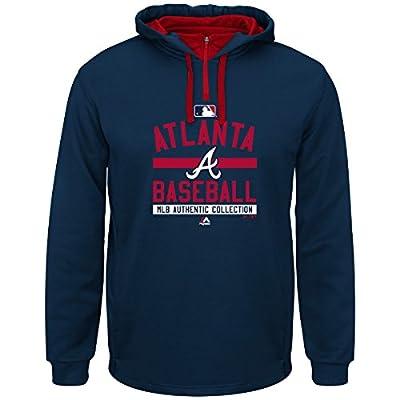 Atlanta Braves Team Property Navy 1/4 Zip Authentic Hooded Sweatshirt Hoody