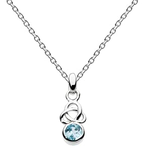 """Heritage Womens Sterling Silver and Blue Topaz Small Trilogy Necklace 9348BT, 18"""""""