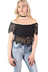 Pilot Solange Eyelash Crochet Bardot Crop Top Black, size M (UK 10)