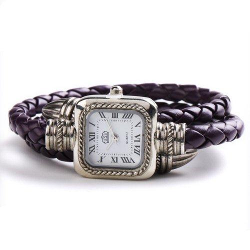 USS Unique Women Ladies Knitted Band Bracelet Style Quartz Wrist Watch Purple