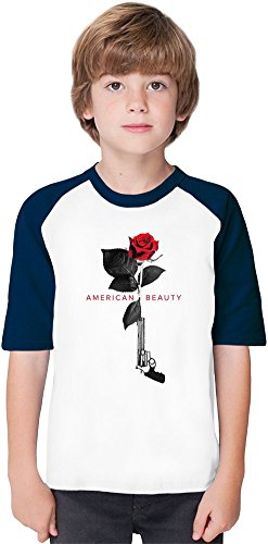 American beauty movie poster Soft Material Baseball Kids T-Shirt by True Fans Apparel - 100% Organic, Hypoallergenic Cotton- Casual & Sports Wear - Unisex for Boys and Girls 7-8 years