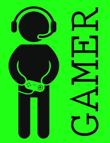 Video Games Gamer With Headphones And Controller Green Black Vinyl Decal Sticker Two In One Pack (4 Inches Tall)