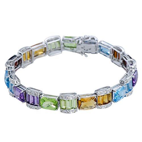 Sensational Womens Ruby Blue Topaz Amethyst Peridot Citrine Garnet Multi-Gemstone 14K White Gold Diamond .66(cttw) Chakra Balancing Bracelet Length 7