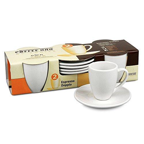 Konitz Coffee Bar Espresso Doppio Cups/Saucers, Set of 4 (3 Oz Espresso Cups And Saucers compare prices)