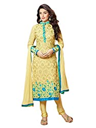 1 Stop Fashion Mark your look This season with this beautiful semi stitched salwar suit. Yellow Color Georgette Fabric Suit comes with Yellow Color Santoon Fabric Bottom & Yellow color chiffon Fabric Dupatta. This suit has Yellow and Sky Blue color Beautiful Thread embroidery work. Accessories shown in the image are for photography purpose. (Slight color variation is possible)