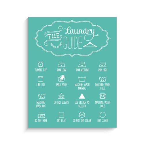 "Lucy Darling Laundry Guide Print Wall Decor, Blue, 11"" x 14"" - 1"