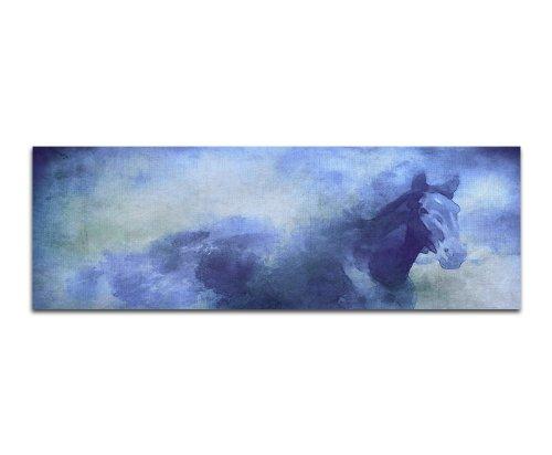 pferd gemalt wasserfarben 150x50cm panoramabilder auf leinwand und keilrahmen wandbild auf. Black Bedroom Furniture Sets. Home Design Ideas