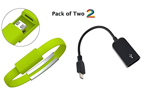 Pack of Two .2015 New Colourful Micro USB 2.0 Data Sync Charger Wrist Bracelet Shape, Specially design for Power bank charger. Size 0.7Ft Feet 8.5 Inch For Samsung Galaxy Note 2, Galaxy S4, Galaxy S3, Galaxy S2, Galaxy Nexus, HTC One X, One S, Sensation G14, ThunderBolt, Nokia N9 Lumia 920 900, Blackberry Z10, Sony Xperia Z; and More. 2- OTG - On-The-Go Connection Kit and Cable Adapter! Mobile Phone OTG Connect Kit for Samsung and various other smart phones