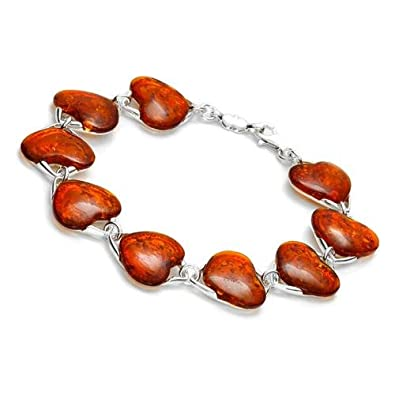 Sterling silver and 9 heart-shaped, cognac amber link bracelet