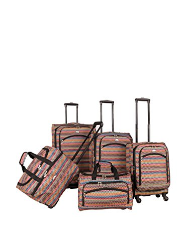 American Flyer Gold Coast 5-Piece Spinner Luggage Set, Pink