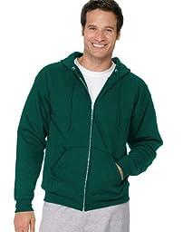 Hanes Men\'s Full Zip EcoSmart Fleece Hoodie, Deep Forest, XX-Large