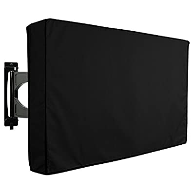 Outdoor TV Cover, Weatherproof Universal Protector for LCD, LED, Plasma Television Sets - Compatible with Standard Mounts and Stands. Built In Remote Controller Storage Pocket