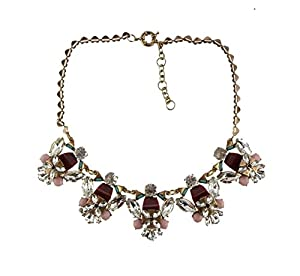J New Crew Brown Pink Crystal Statement Necklace