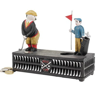 Design Toscano SP1312 The Golfer: This Putt is for a Birdie Collectors' Die-Cast Iron Mechanical Co...