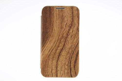 JAPAEMO Galaxy S4 (SC-04E) ウッド調 フリップ型 カードケース付き ドコモ ギャラクシーS4 ケース ブラウン [JE00972]
