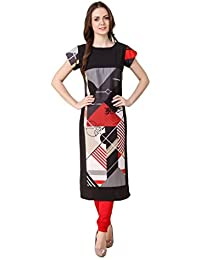 Caffoy Cloth Company Women's Multi-Color American Crepe Printed Party Wear Kurtis-202-S