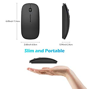 Hommie Bluetooth Wireless Mouse, Rechargeable Mouse Dual Mode Bluetooth 4.0 Mouse 2.4G Wireless, 5 Adjustable DPI(2400-800) for MacBook, Laptop, MacOS 10.10, Android 5.0, Windows 8 or Above