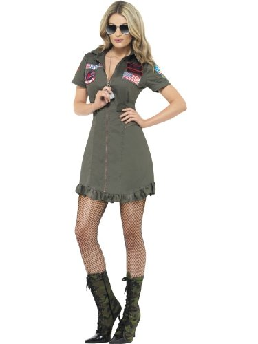 Smiffy's Top Gun Deluxe Female Costume with Dress and Sunglasses - Three Sizes S, M or L