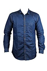 Zedx denim long sleeve liner solid plain pattern DARK BLUE style shirt for men's