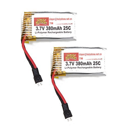 Holy Stone 3.7V 380mAh Lipo Battery for RC Quadcopter Hubsan X4 H107C H107D H107L F180 F180C M61X, M62R (2 pcs) - 1