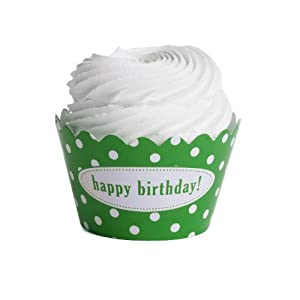 Dress+My+Cupcake Dress My Cupcake Personalized Message Cupcake Wrappers, Polka Dot, Happy Birthday, Kelly Green, Set of 50