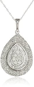"10k White Gold Tear Drop Diamond Pendant Necklace (1.00 cttw, I-J Color, I2-I3 Clarity), 18"" from Amazon Curated Collection"