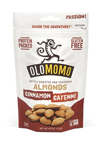 OLOMOMO Cinnamon Cayenne Almonds {4oz., 1 Pack} - Sweet and Spicy Protein-Packed Paleo Food for Better Snacking - Roasted in Small Batches - Vegan and Gluten-Free (Beyond Better Cashew Cheese compare prices)