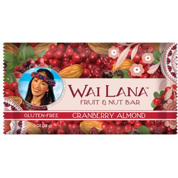 Wai Lana Healthy Snack Dried Cranberry Almond Fruit And Nut Bar Gluten Free Protein Bars In Bulk 48-Pack