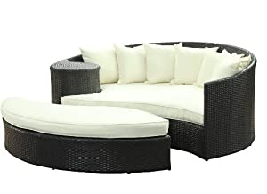 Taiji Outdoor Wicker Patio Daybed With Ottoman Whiteperidot Color