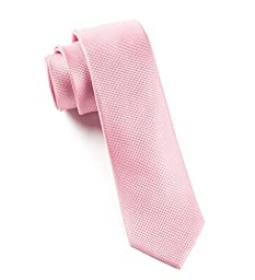 100% Silk Skinny Baby Pink Textured Solid Tie
