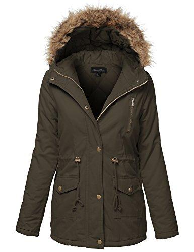 Warm Fur Trim Removable Hoodie Utility Jackets, Large, Dark Olive