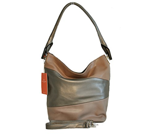 Borsa donna David Jones in ecopelle a bande trasversali - camel