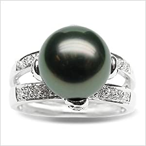 Size 7 18K white gold Leah Black Tahitian south sea cultured pearl and diamond ring