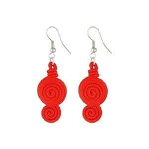 Red Nylon Cord Handmade 2 Spiral Pendent Hook Earrings for Women