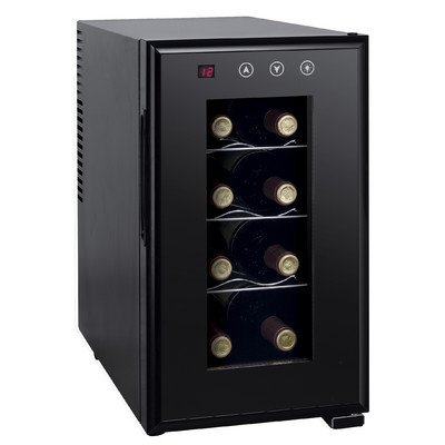 Sunpentown Home Outdoor Travel Portable Beverage Storage 8-Bottle Thermo-Electric Slim Wine Cooler With Heating