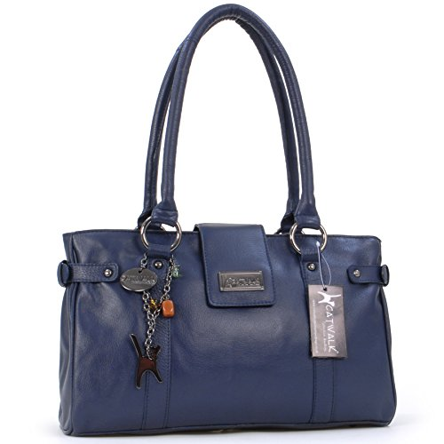 "Borsa in pelle a spalla di Catwalk Collection ""Martina"" - Blu Scuro"
