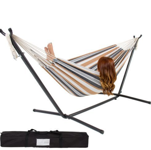 Patio Furniture-Double Hammock With Space Saving Steel Stand Includes Portable Carrying Case-Hammock- 100% cotton- Able to accommodate two adults, up to 450 lbs-You will love sharing this hammock on a warm summer day-Guaranteed!