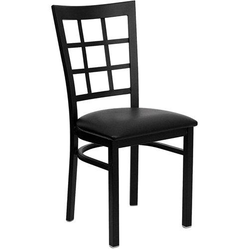 Flash Furniture Black Window Back Metal Restaurant Chair with Vinyl Seat