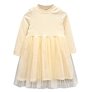 LittleSpring Little Girls' Dress Lace Fall Size 5 Beige