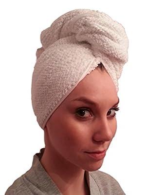 Premium Cotton Bath Hair Wrap, Hair Drying Towel, Hair Towel, Twist Wrap Cap - White
