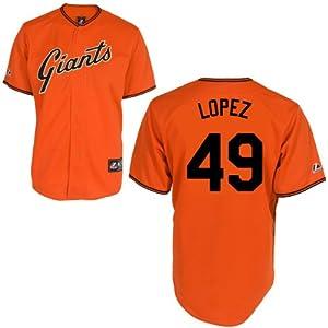 Javier Lopez San Francisco Giants Alternate Orange Replica Jersey by Majestic by Majestic