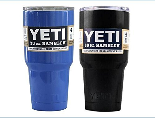 Yeti Rambler Tumbler Cups with Lids, 30 oz, Set of 2-Blue+Black