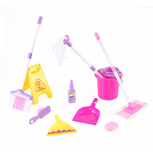 KinderToys-Kids-Cleaning-Set-including-Water-Bucket-Cleaning-Agent-Bottle-Broom-Mop-Duster-Wet-Floor-Sign-Brush-and-Dustpan-Hours-of-Fun-Pretend-Play