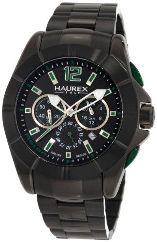 Haurex Italy Aston - Reloj cronógrafo de caballero de cuarzo con correa de acero inoxidable negra