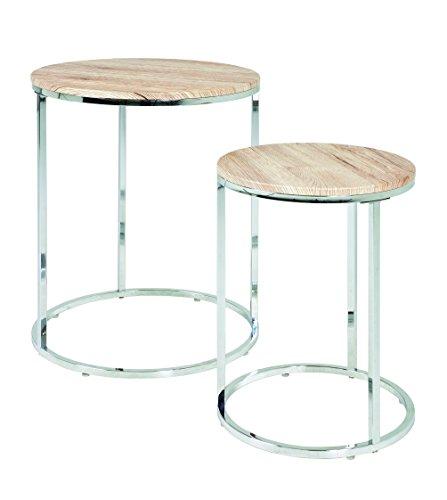 HAKU Möbel2-Satz-Tisch, chrom-eiche San Remo