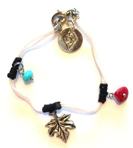 emma +match , tender Kids / Teen Bracelet pink silk with small pendants of turquoise, coral and metal maple leaf